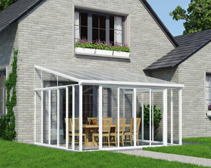 Palram Patio Cover 13' x 14' Palram - SanRemo Patio Enclosure - White with Screen Doors - Multiple Sizes