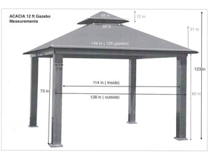 Riverstone Industries - 12 FT SQ ACACIA SunDURA Gazebo - Upgraded Outdoor Living