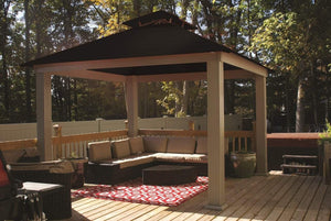 Riverstone Industries - 14 FT SQ ACACIA OutDURA Gazebo - Upgraded Outdoor Living