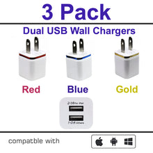 3-Pack 2.1A/5V Dual Port USB Wall Charger