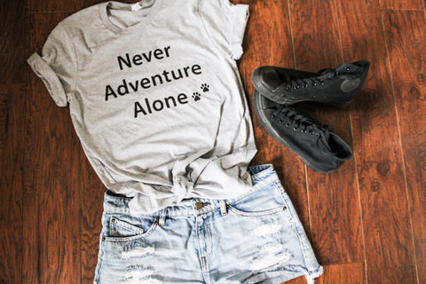 Never Adventure Alone T-Shirt - GRAY