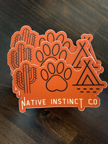 Native Instinct Logo Sticker - Orange