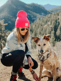 Never Adventure Alone Logo Beanie - PINK