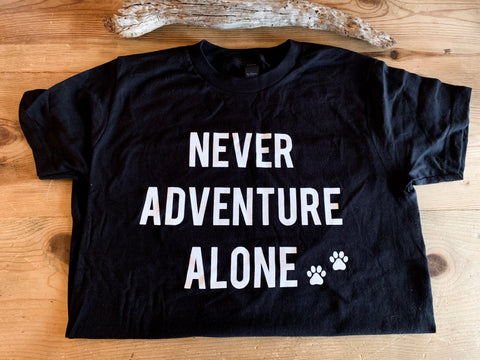 Never Adventure Alone T-Shirt - BLACK