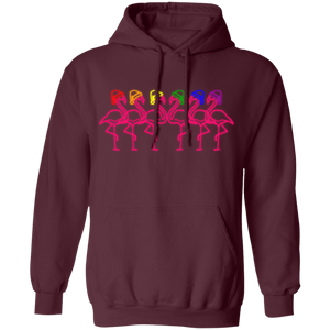 Fabulous Flamingos in Rainbow Colors Holidays Hats Hoodie