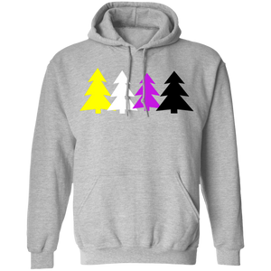 Non-Binary Pride Holidays Trees Hoodie