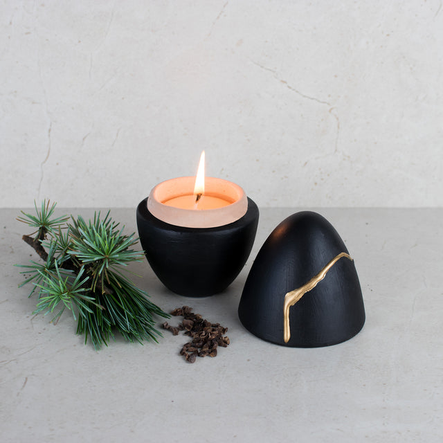 "Beeswax Small Scented Candle - ""Cabin Woods"""