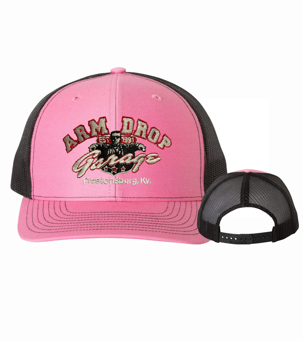 Hot Pink/Black Arm Drop Garage Structured Trucker Cap