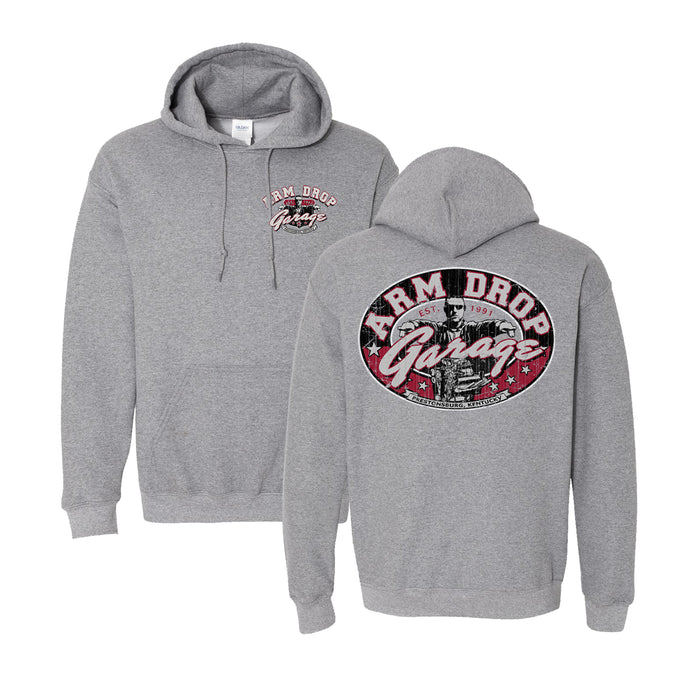 Adult Heather Grey Arm Drop Garage Hoodie