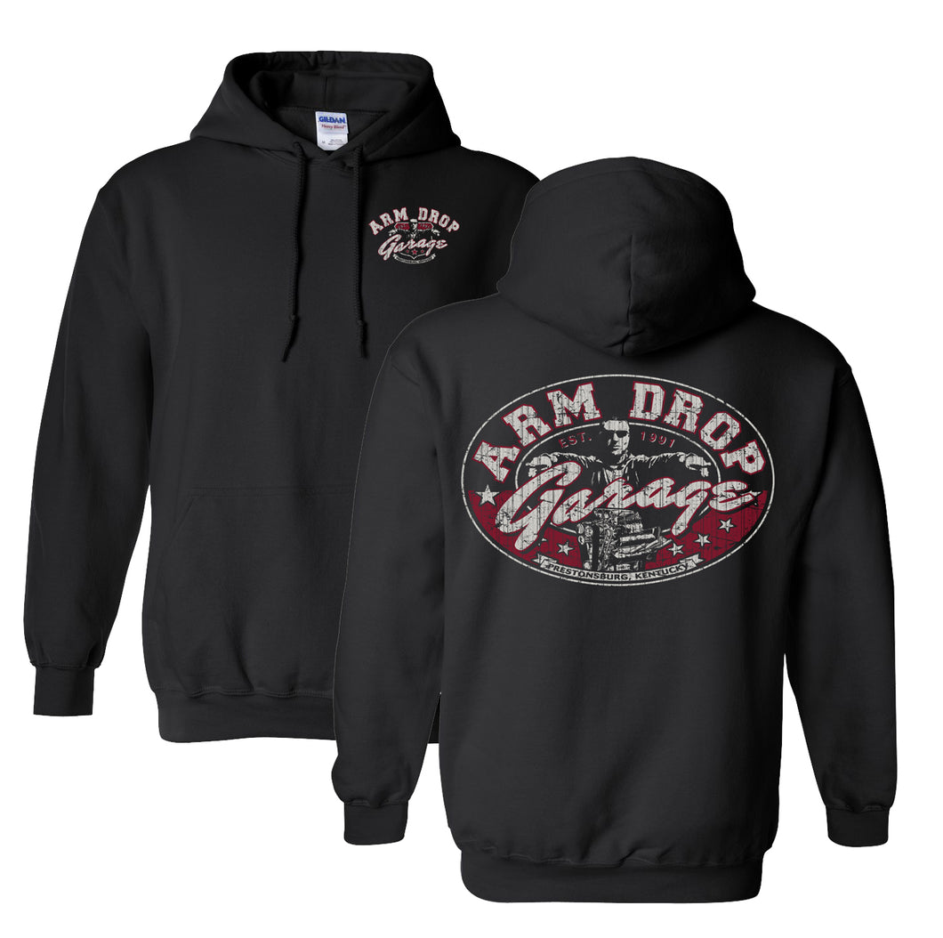 Adult Black Arm Drop Garage Hoodie