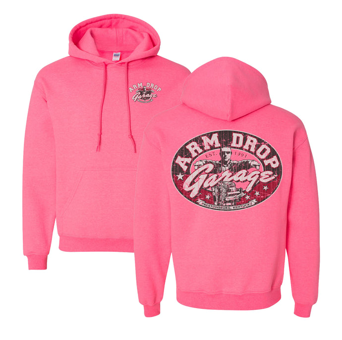 Adult Safety Pink Arm Drop Garage Hoodie