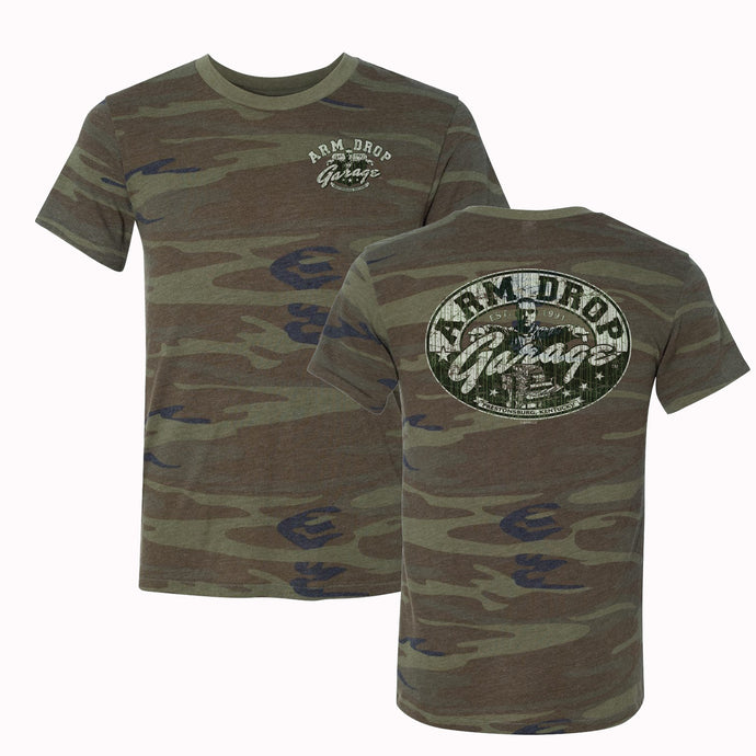 Adult Super Soft Camo Arm Drop Garage T-Shirt