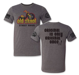 Adult Dark Heather Grey Old Skool Street Racer T-Shirt