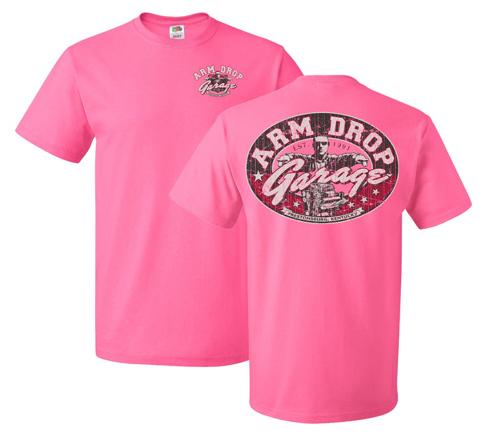 Adult Neon Pink Arm Drop Garage Short Sleeve T-Shirt