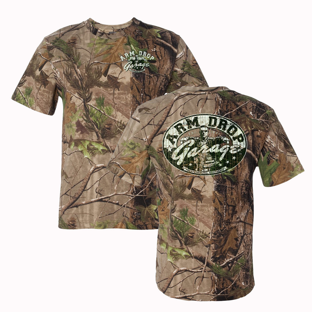 Adult Real Tree APG Camo Arm Drop Garage T-Shirt