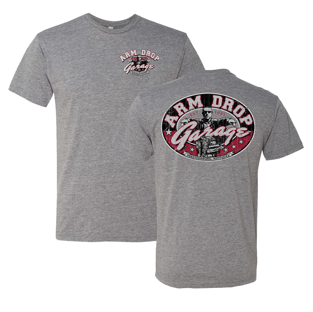 Adult Heather Grey Soft Arm Drop Garage T-Shirt