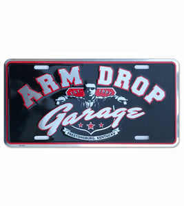 Arm Drop Garage Aluminum Embossed License Plate