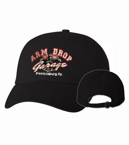 Black Arm Drop Garage Twill Unstructured Cap