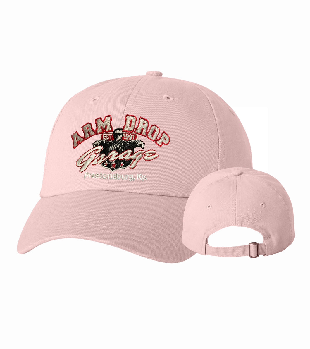 Light Pink Arm Drop Garage Twill Unstructured Cap