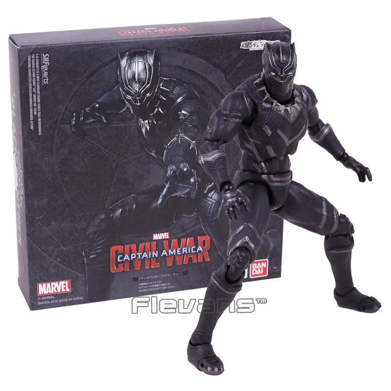 SHFiguarts Captain America Civil War Black Panther PVC Action Figure Collectible Model Toy 16cm