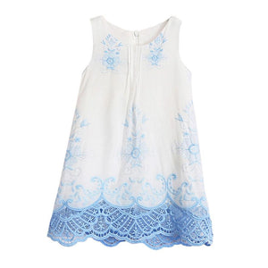 White & Blue Embroidered Dress - LDNKIDS - Kids Clothing Childrenswear Baby Clothes
