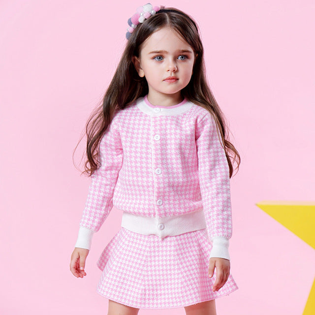 Pink Houndstooth Set - LDNKIDS - Kids Clothing Childrenswear Baby Clothes