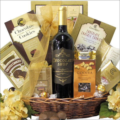 CHOCOLATE HAVEN: RED WINE GIFT BASKET