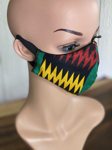 "MASK - BAMBOO-LINED DUTCH FABRIC FACE MASKS - ""RAWRR!"""