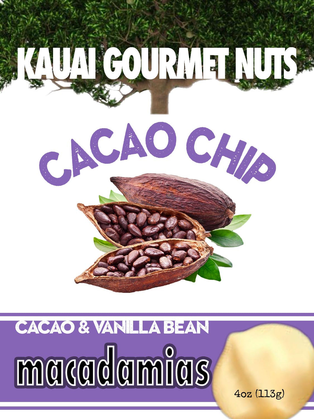 Cacao Chip Kauai Macadamias Hawaiian Nuts Vanila Bean Butterscotch Toffee Roasters