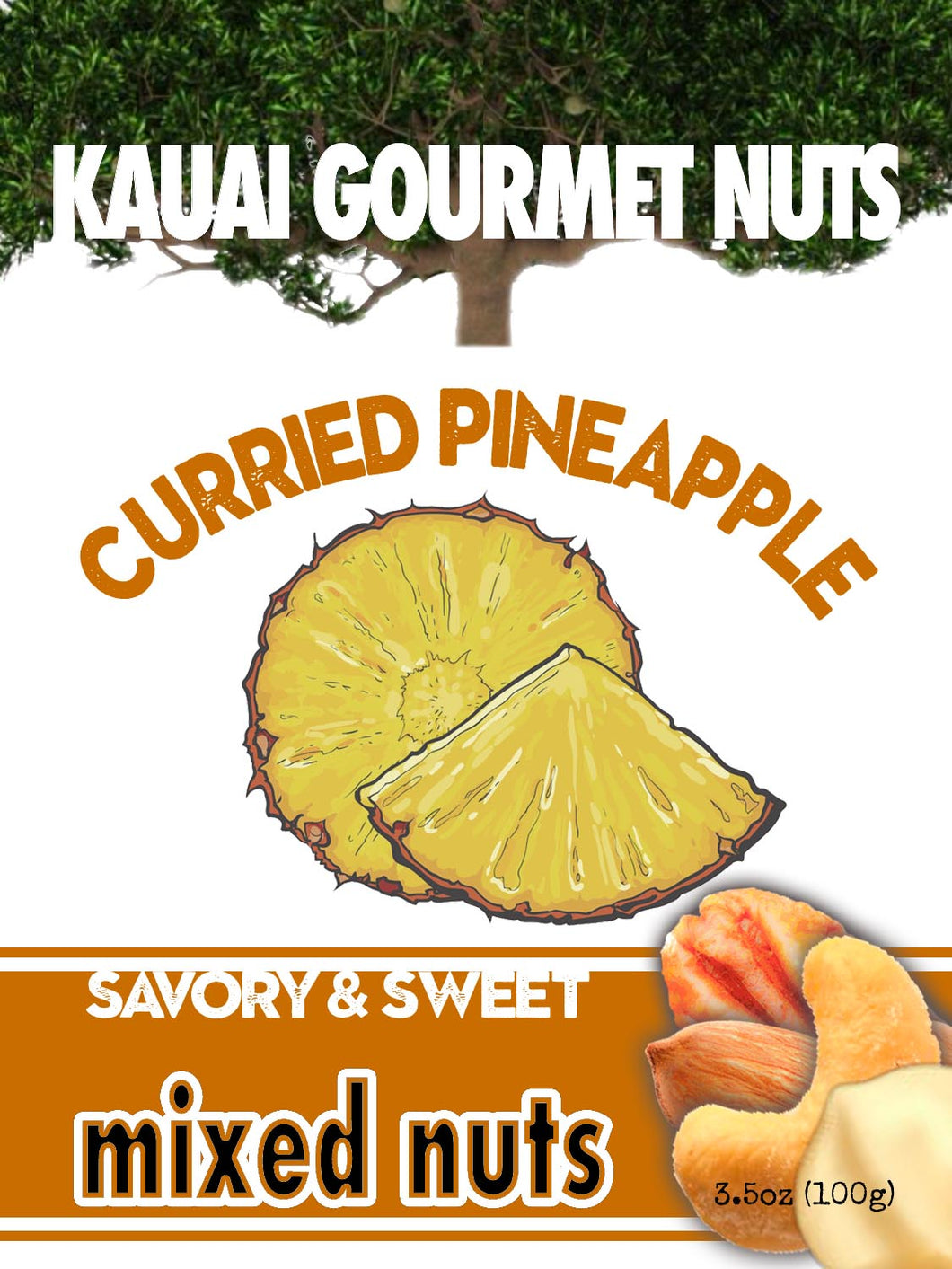 Curried Pineapple Mixed Nuts Kauai Macadamias Pecans Almonds Cashews Hawaii Pineapple Hawaiian Curry Roasted Nut Roasters