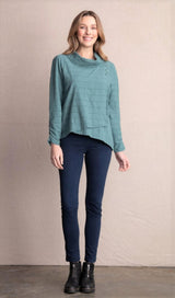Habitat Surplice Cowl Pullover Top in Forest