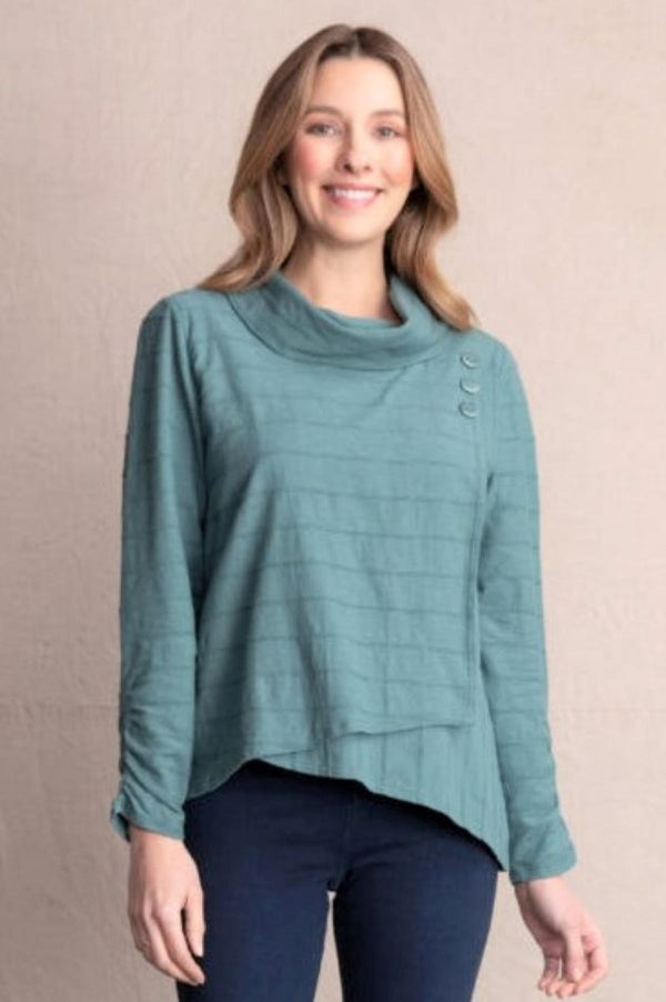 Habitat Clothing Surplice Cowl Pullover Top in Forest