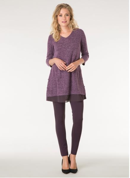 V Neck Side Button Tunic - thread to cloth