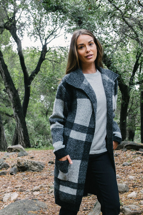 Pappa Of Vancouver Shawl Collar Plaid Woman's Sweater