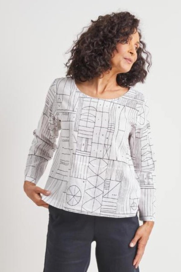 Habitat Clothing Abstract Tribal Pullover Top