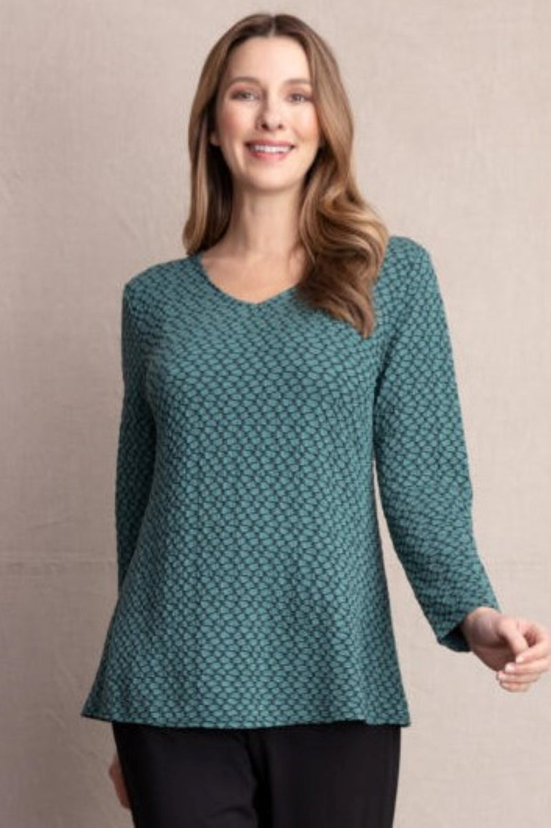 Habitat Stepping Stone Pucker V-Neck Tunic in Spruce