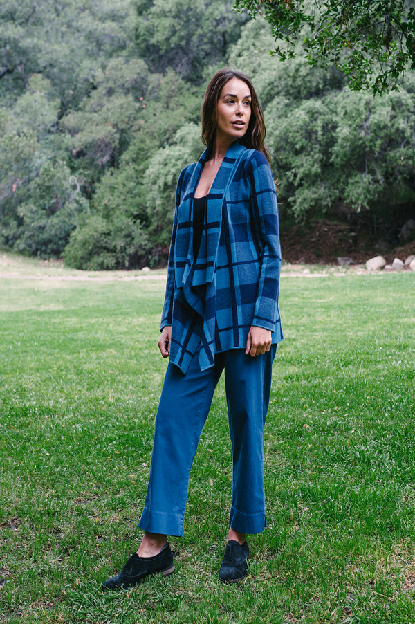 Waterfall Collar Blue Plaid Sweater - thread to cloth