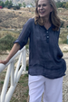 Open Weave Button Down Lace Linen Blouse- Dusty Blue