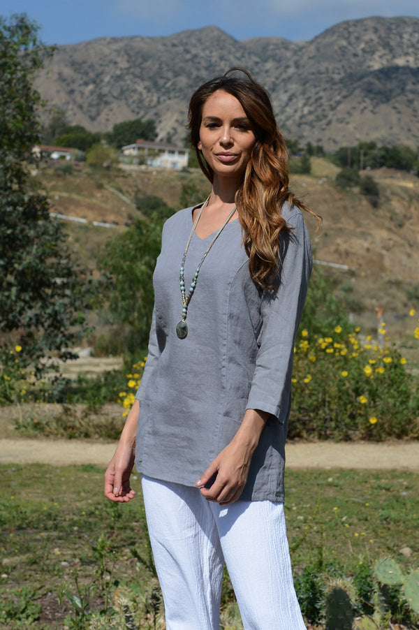 Color Me Cotton V Neck Long Top W/Princess Seam
