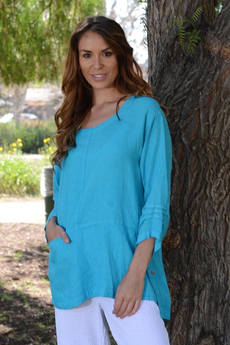Color Me Cotton Long Linen Top in Lagoon