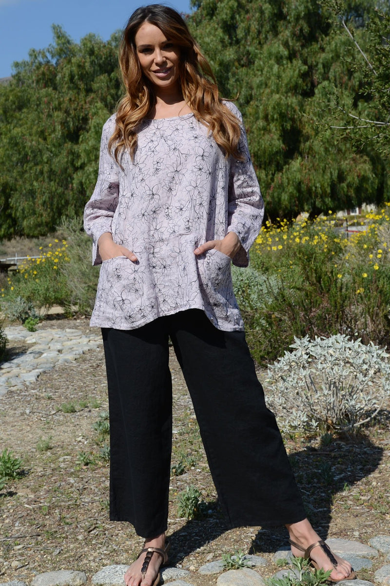 Cut Loose Pocket Pullover Graphic Floral shown in Blossom and Absinthe