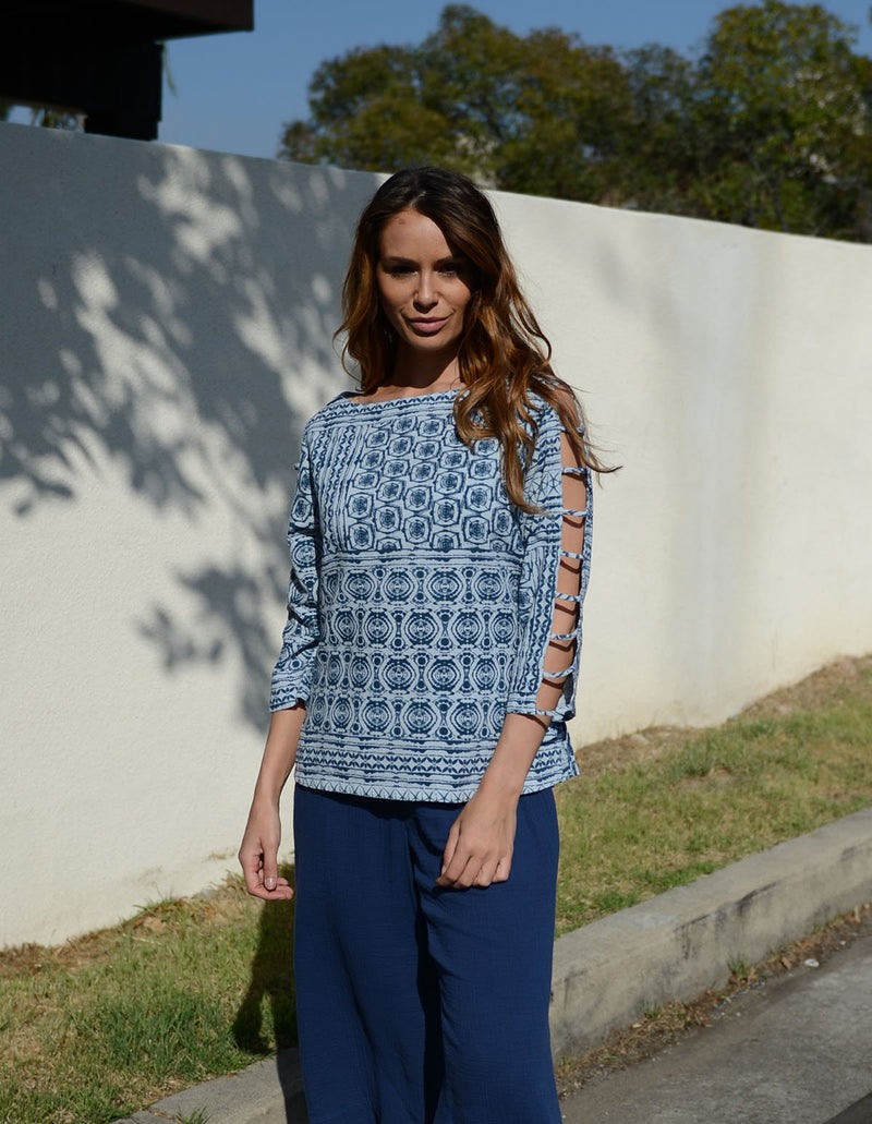 Color Me Cotton Print Lattice Top