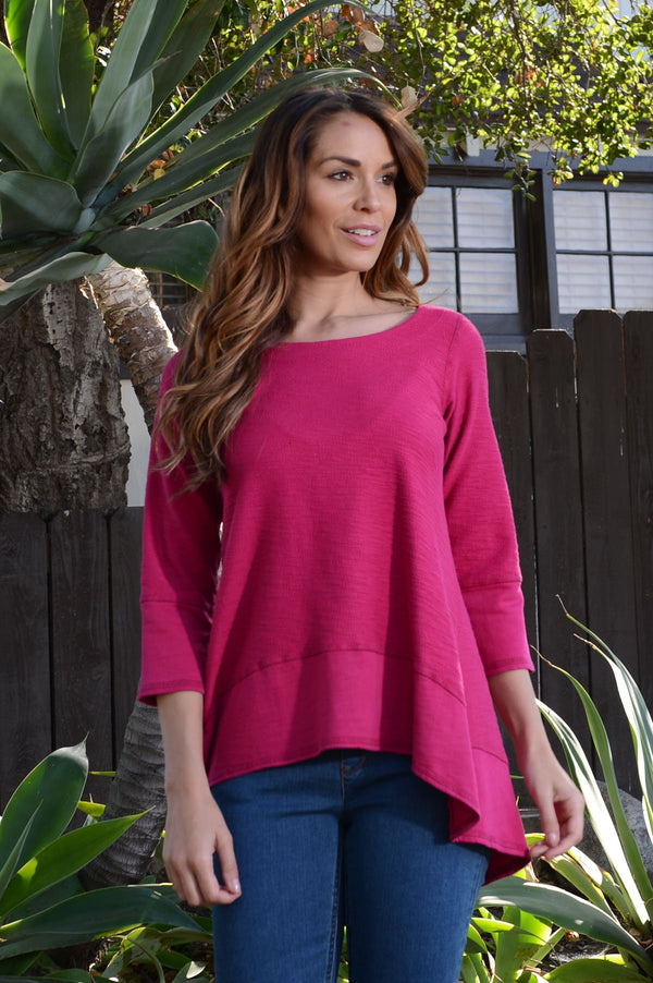 Copy of Color Me Cotton Slub French Terry Long Top in Raspberry Kiss