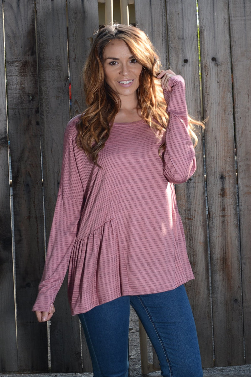 Stripe Peplum Knit Tunic