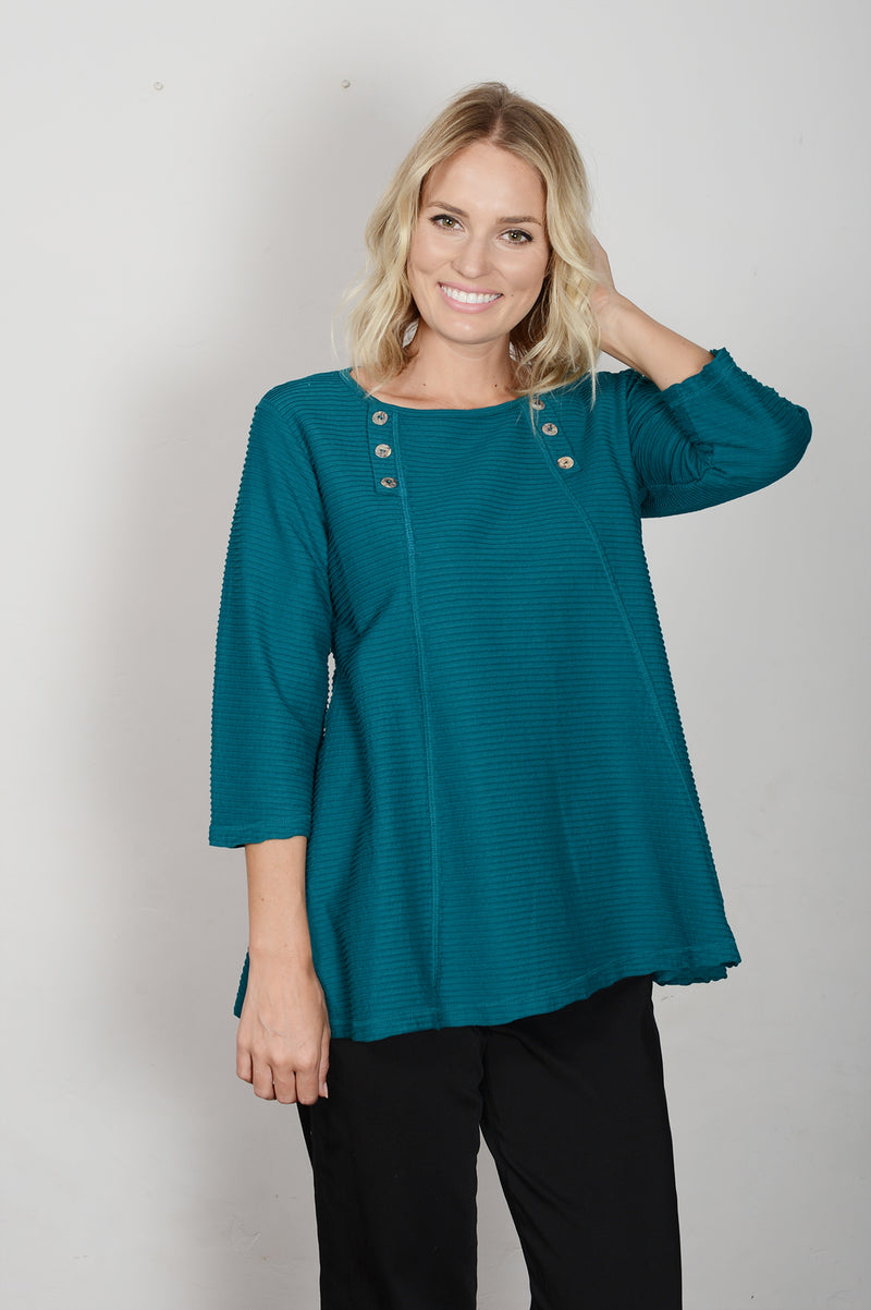 Color Me Cotton Pin Tuck Button Flared  Top - thread to cloth