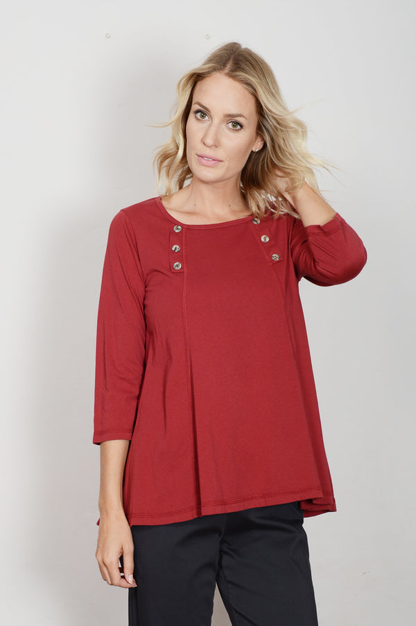 Color Me Cotton Supima Jersey Button Flared Top - thread to cloth