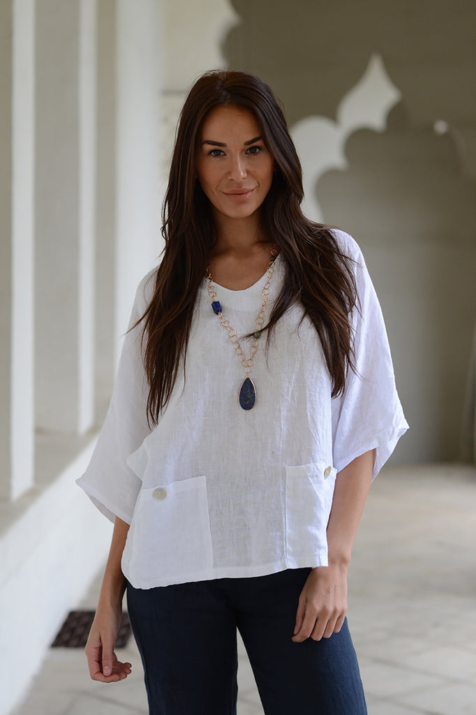 Luca Vancucci Linen V Neck Top
