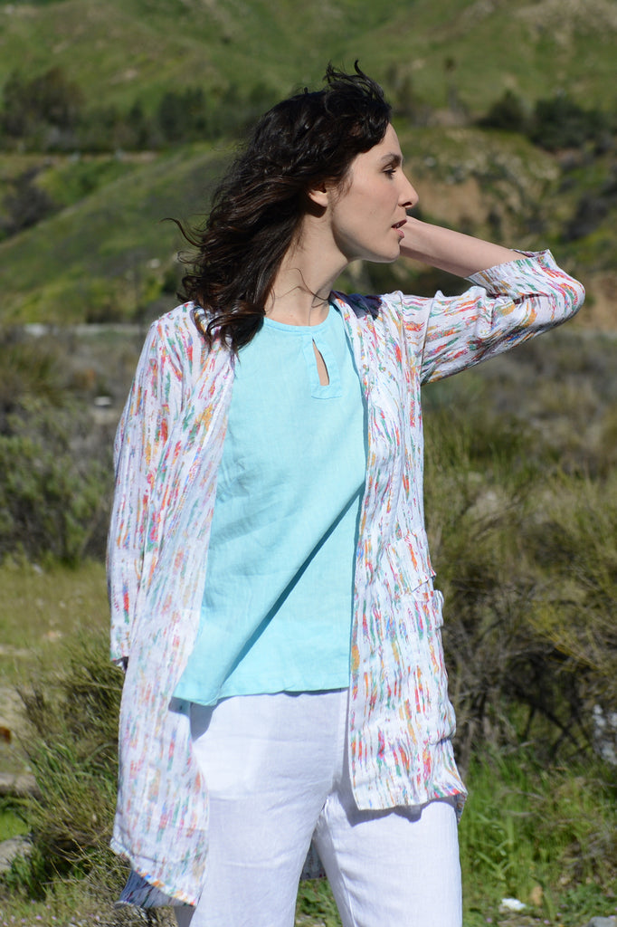 Color Me Cotton Printed Linen Jacket - thread to cloth