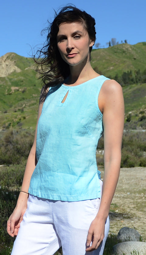 Color Me Cotton Keyhole Linen Tank - thread to cloth