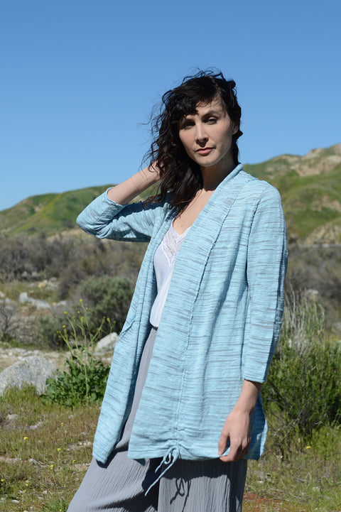 Habitat Variegated Slub Knit Drawstring Cardigan - thread to cloth